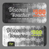 Blank of stylish discount voucher vector illustration to increase sales on gradient steel background with seamless pattern.