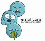 set emoticons character sad sick surprise design vector illustration