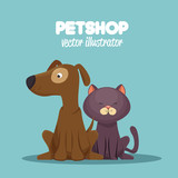 veterinary pet shop cat and dog sitting graphic vector illustration eps 10 - 124177452