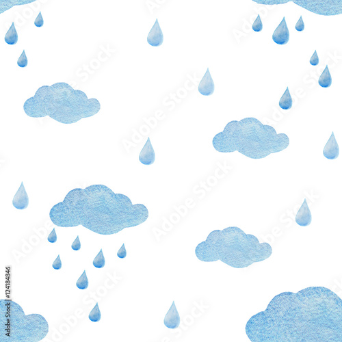 Fototapeta Watercolor seamless pattern with raindrops and clouds isolated on white