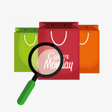 cyber monday bag shop search icon vector illustration eps 10