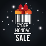 cyber monday sale barcode light black background vector illustration eps 10