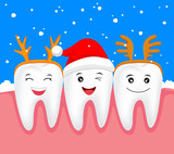 Christmas teeth character concept.  Tooth with Santa hat and antler. Illustration. - 124187095