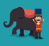 host elephant circus show festival funfair vector illustration eps 10