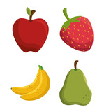 set tasty fruits healthy food vector illustration eps 10