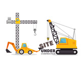 site under construction equipment graphic vector illustration eps 10