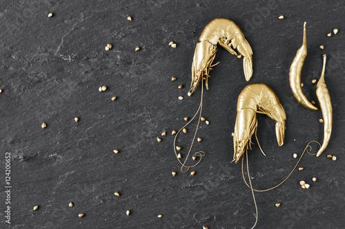 Luxury Golden Shrimps Poster