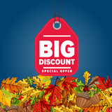 Autumn seasonal sale badge, vector illustration. Big discount, special offer label on blue background with colorful autumn leaves. Red price tag with white text. Incredible sale proposition