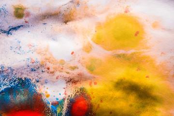 basis dried streaks of multicolored paint cracks
