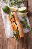 Vietnamese sandwich with cilantro and carrot close-up. vertical top view
