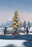 Penguins around a Christmas tree in a winter mountain landscape