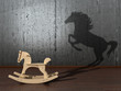The concept of the hidden potencial.Toy horse in the room which
