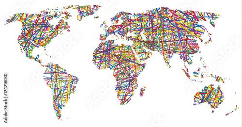 Fototapeta colorful world map