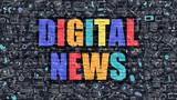 Digital News on Dark Brick Wall.