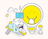 Vector illustration of light bulb and three dimensional mechanis