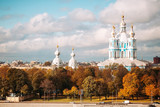 Smolny Cathedral in autumn. Russia. St. Petersburg