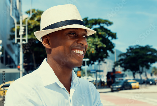 Poster African american man from Havana at Cuba in warm cinema look