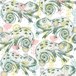 Vector hand drawn seamless pattern with chameleon