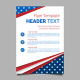 USA patriotic background. Vector illustration with text, stripes and stars for posters, flyers, decoration in colors of american flag. Colorful template for National celebrations, political campaigns. - 124263277