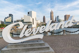 Cleveland Sign and Skyline from Harbor Walkway