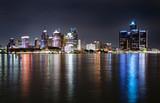 Fototapety Detroit Michigan Night Skyline