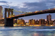 The Brooklyn Bridge in New York City at sunset
