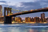 The Brooklyn Bridge in New York City at sunset