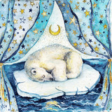 Watercolor children illustration with sleeping  white bear on the iceberg. Postcard or poster