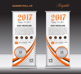 Orange roll up banner template, banner design, stand template, d