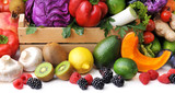 Mix of fresh vegetables, berry and fruit on white background.Concept of healthy eating.