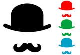 Icono plano bombin con bigote varios colores