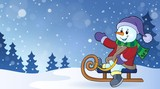 Snowman on sledge theme image 2