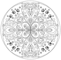 Coloring mandala with ladybirds vector
