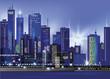 Modern night city skyline at night