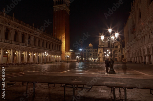 Gorgeous empty and shiny Piazza San Marco Campanile in the middl Poster