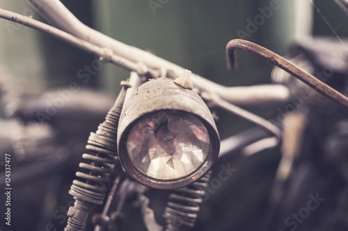 Close up headlight of old vintage bicycle плакат