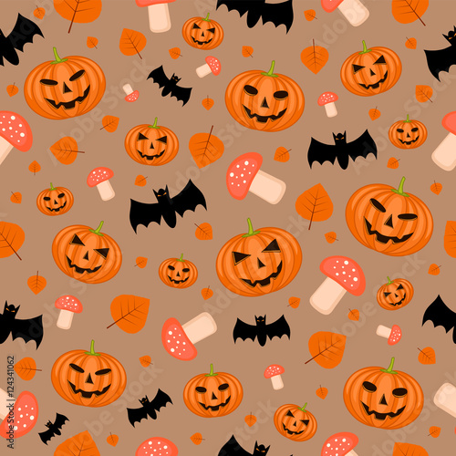 Cotton fabric Halloween seamless pattern with pumpkins, bats and amanitas