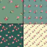 Seamless Vintage Wildflowers Pattern Set