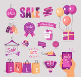 Set of Sale Flat Vector Stickers, Tags, Concepts