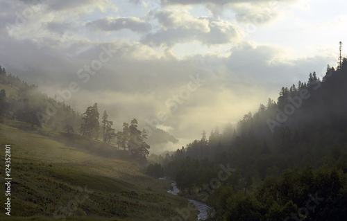 morning fog in mountain valley - 124352801