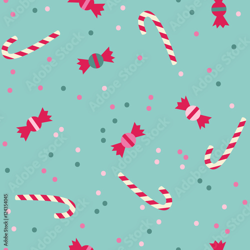 Cotton fabric Seamless vector pattern with sweets and candies. Christmas template on blue background.