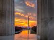 Brilliant sunrise over reflecting pool DC