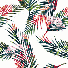 Seamless exotic pattern with abstract palm leaves and tropical a