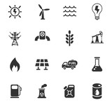 fuel and power icon set