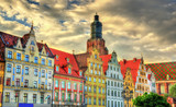 Colorful Houses on the Market square in Wroclaw, Poland