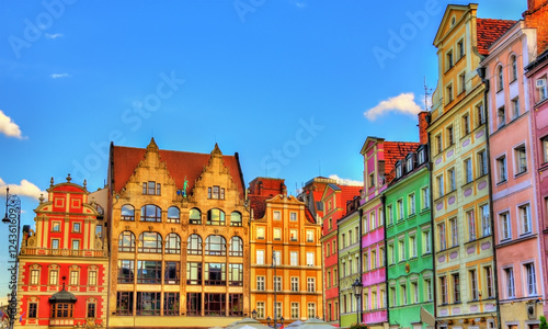 Fototapeta Colorful Houses on the Market square in Wroclaw, Poland