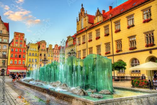 Zdjęcia na płótnie, fototapety na wymiar, obrazy na ścianę : Fountain on the Market Square of Wroclaw - Poland