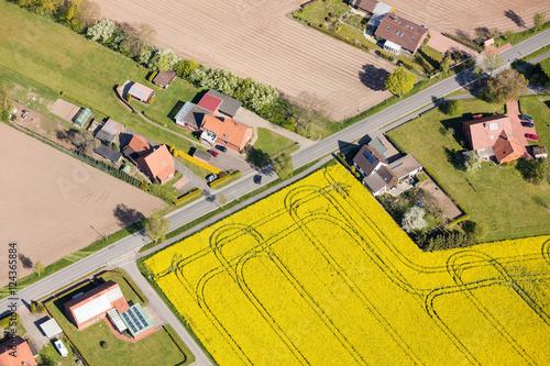 Foto op Canvas Meloen Luftaufnahme von Feldern in Norddeutschland