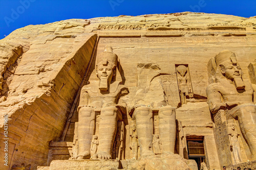 Poster Egypte The Great Temple at Abu Simbel, right part, Egypt.