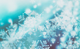 Fototapety Shimmering blur spot lights on abstract background. Pattern of snowflakes
